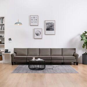 vidaXL 5-personers sofa stof gråbrun