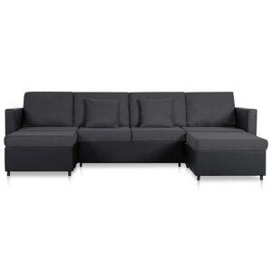 vidaXL 4-personers sovesofa med udtræk kunstlæder sort