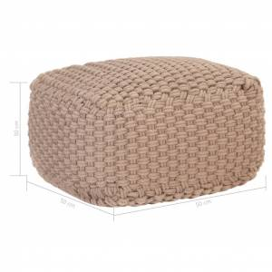 vidaXL håndstrikket puf 50x50x30 cm bomuld brun