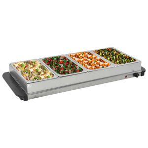 vidaXL buffetvarmer rustfrit stål 400 W 4 x 2,5 l
