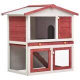 vidaXL udendørs kaninbur 3 døre træ rød