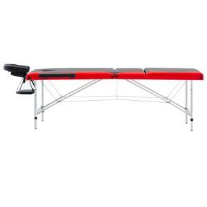 vidaXL foldbart massagebord 3 zoner aluminium sort og rød
