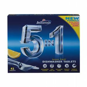 Astonish 5 in 1 Dishwasher Tablets Lemon 42 stk Opvasketabs