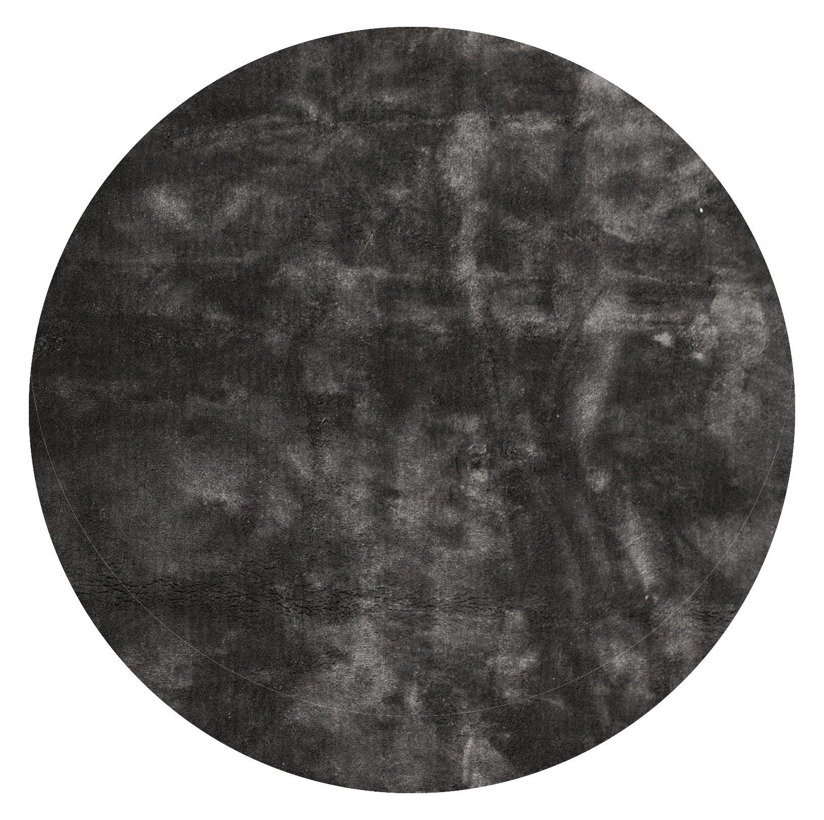 Nimara.dk Victoria rundt tæppe i viskose look Ø200 cm - Mørkegrå