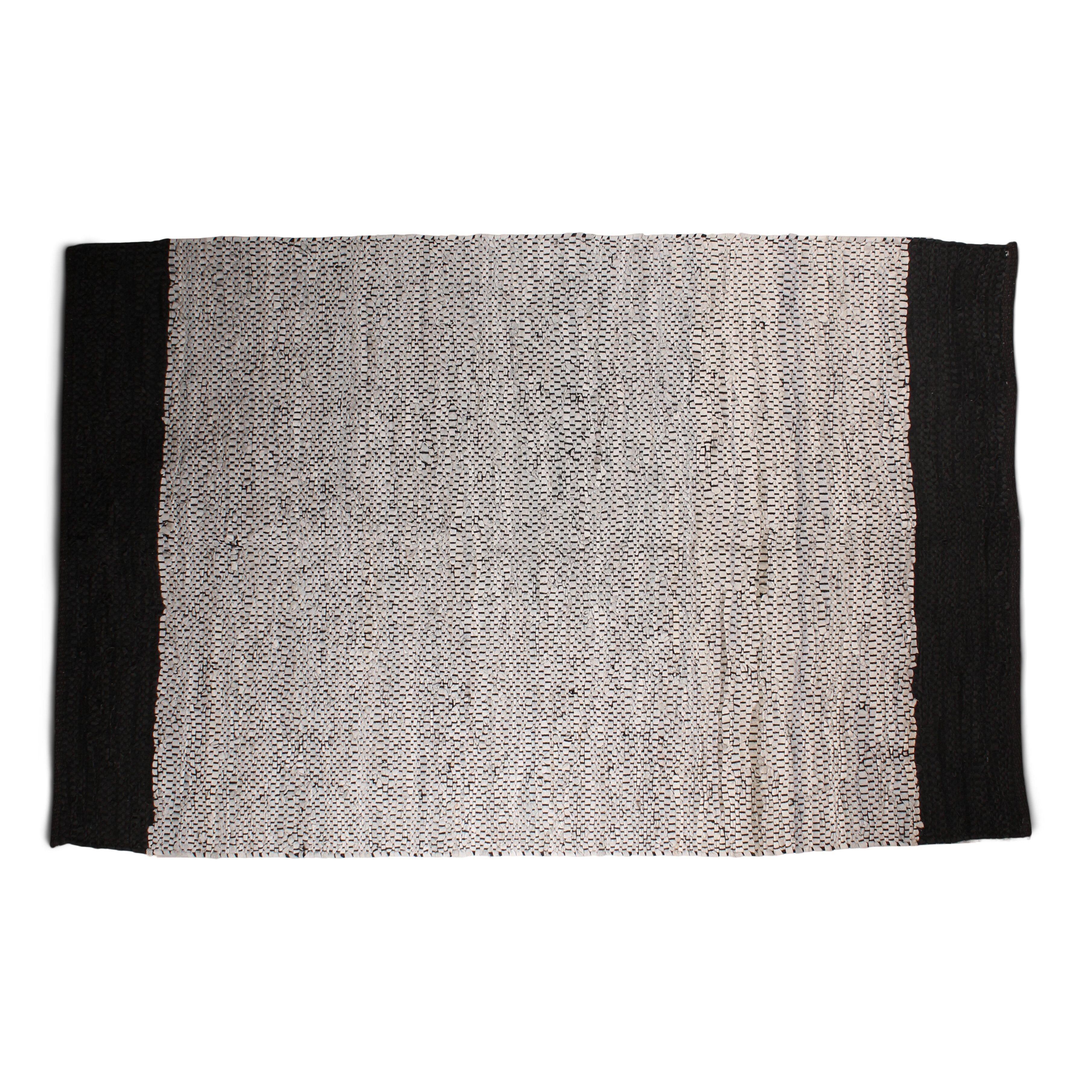 Nimara.dk Parma læder tæppe af genbrugsmaterialer 240 x 180 - Grå/sort