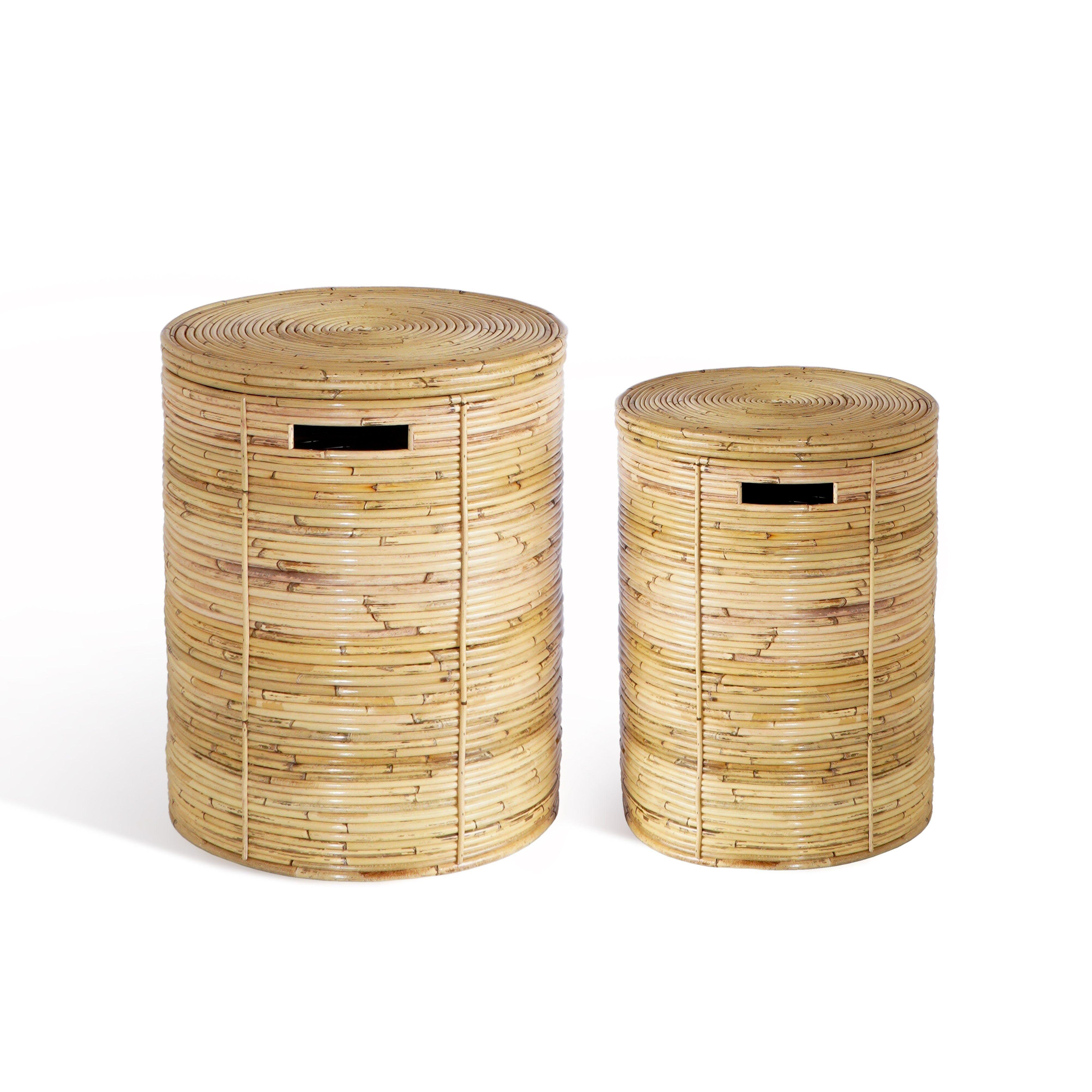 Nimara.dk Vilmar - Vasketøjskurve sæt i bambus flet med låg