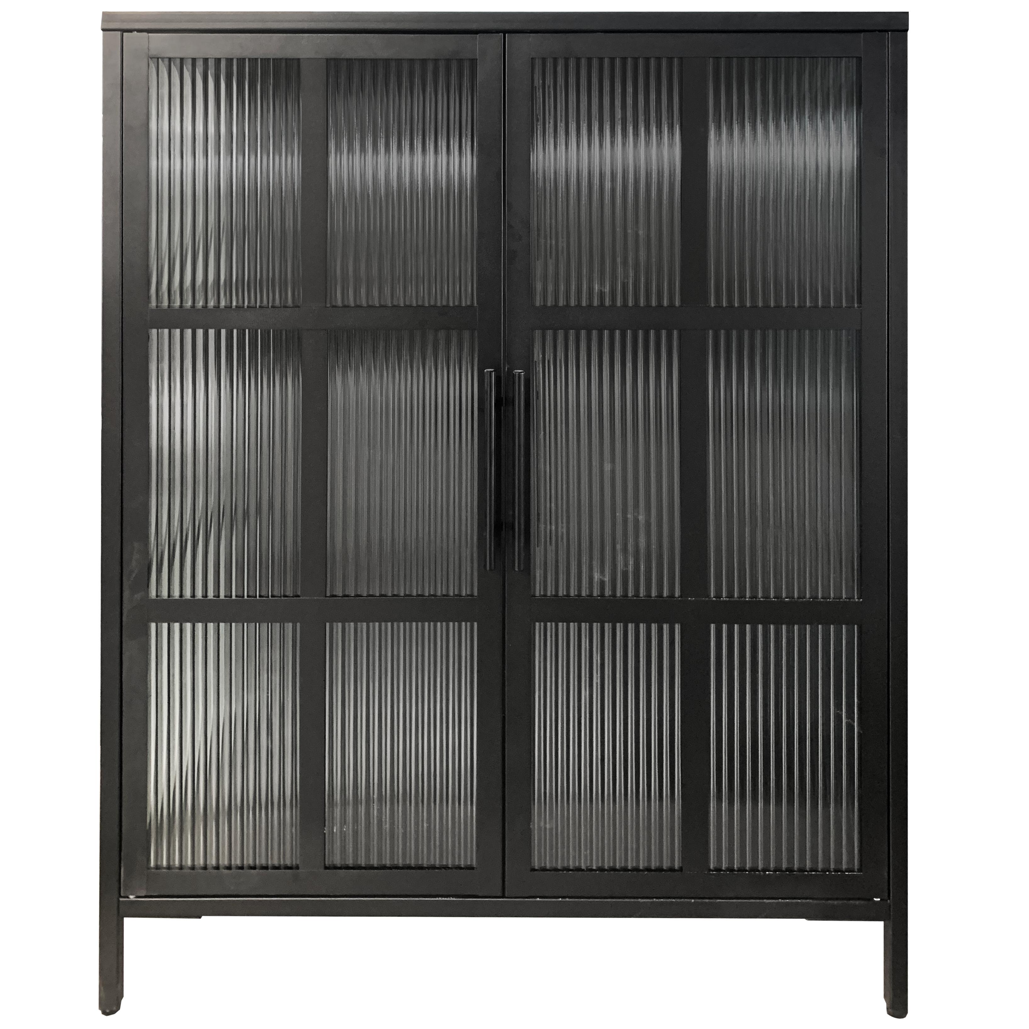 Nimara.dk Reese skænk/vitrineskab i sort metal med 2 glaslåger - Riflet glas