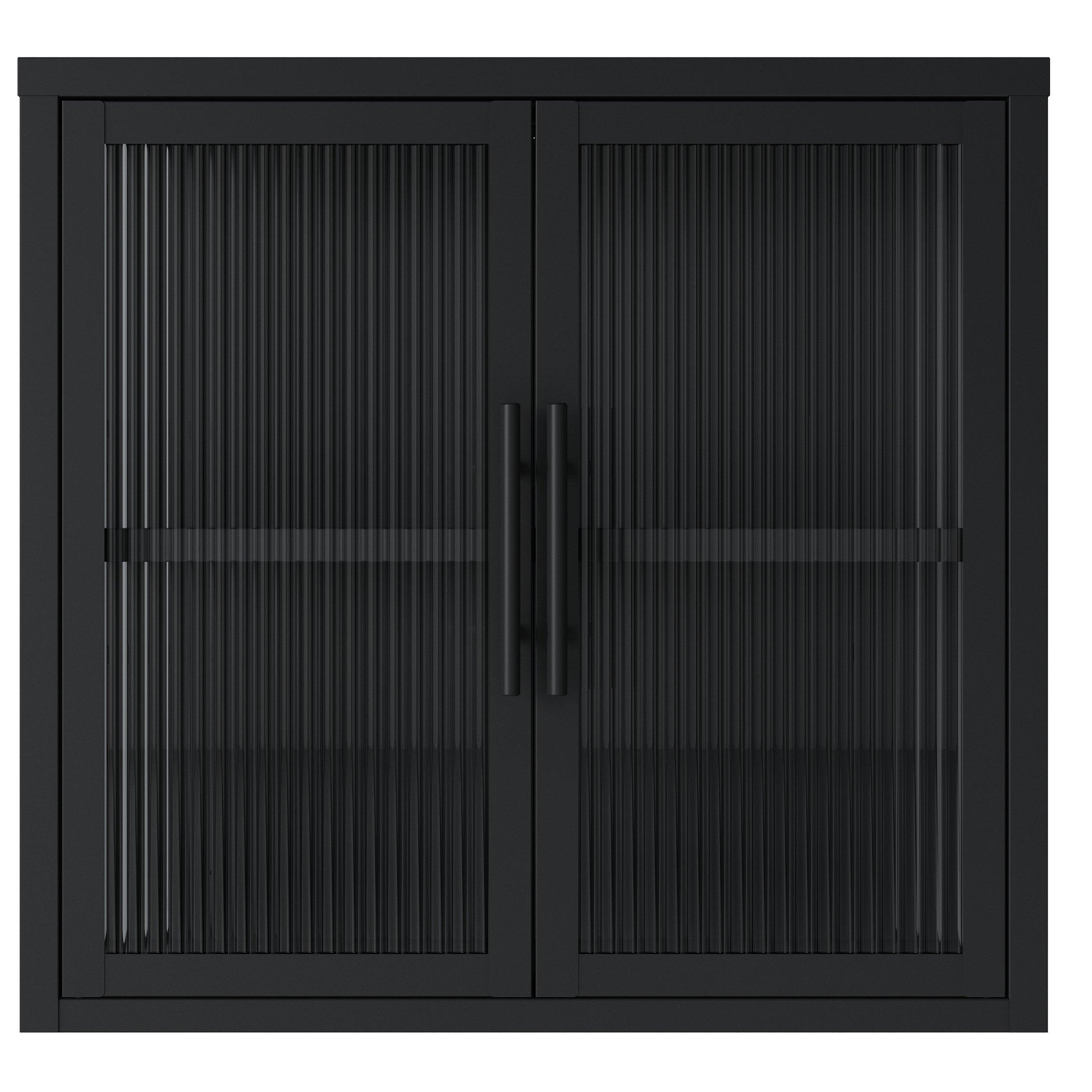 Nimara.dk Reese - Væghængt vitrineskab i sort metal med 2 glaslåger - Riflet glas