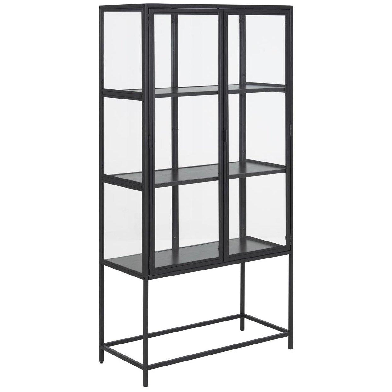 Nimara.dk Seaford vitrineskab i stål sort med 2 glaslåger - Højde 150 cm