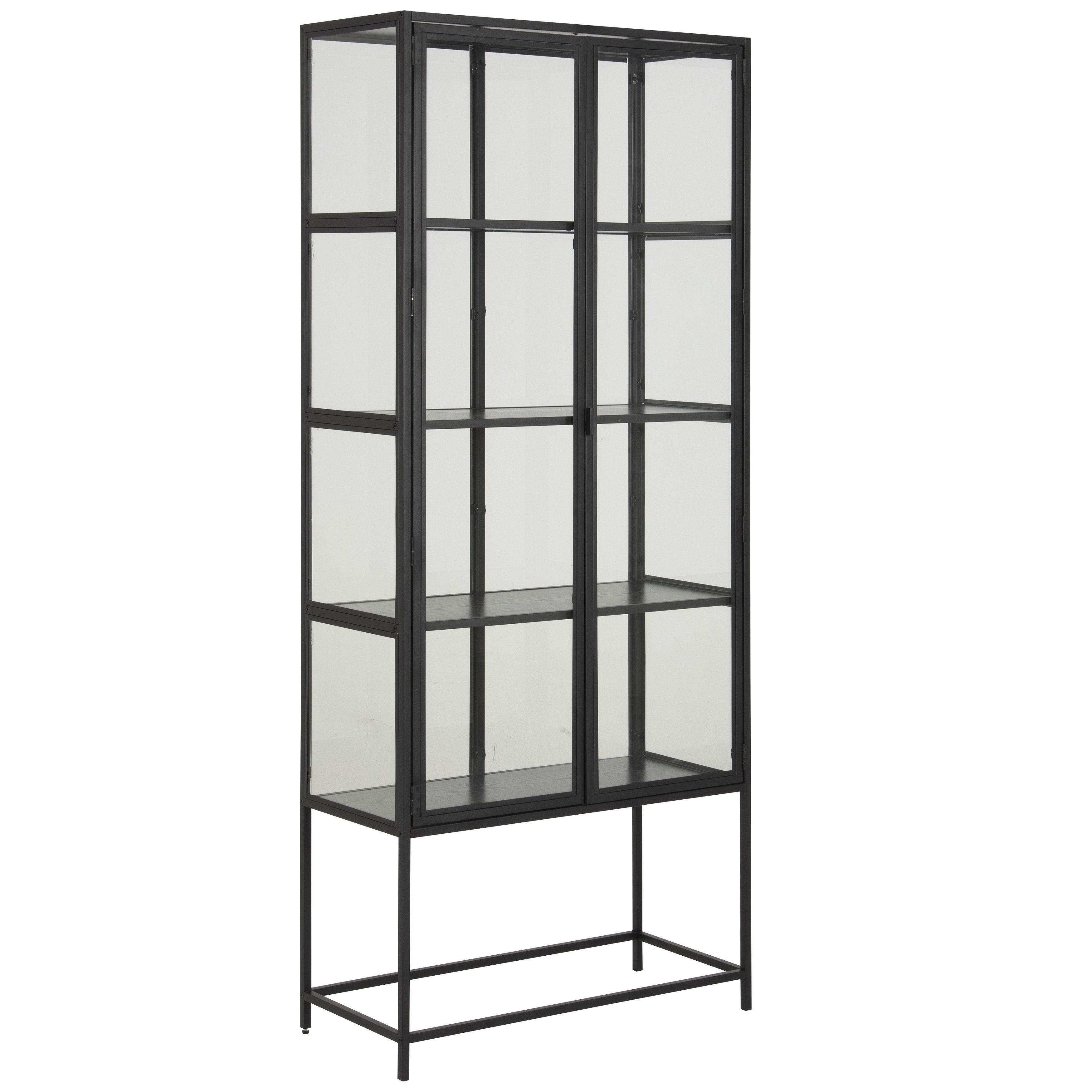 Nimara.dk Seaford vitrineskab i stål sort med 2 glaslåger - Højde 185 cm