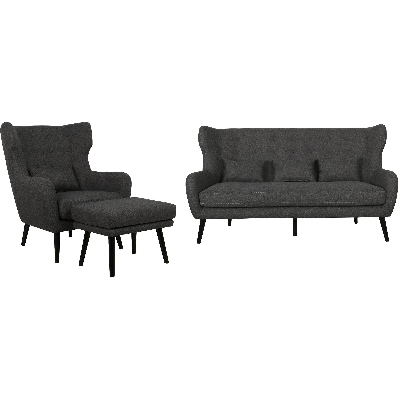 Nimara.dk Harry - Sofasæt med 3 personers sofa, lænestol og skammel i grå