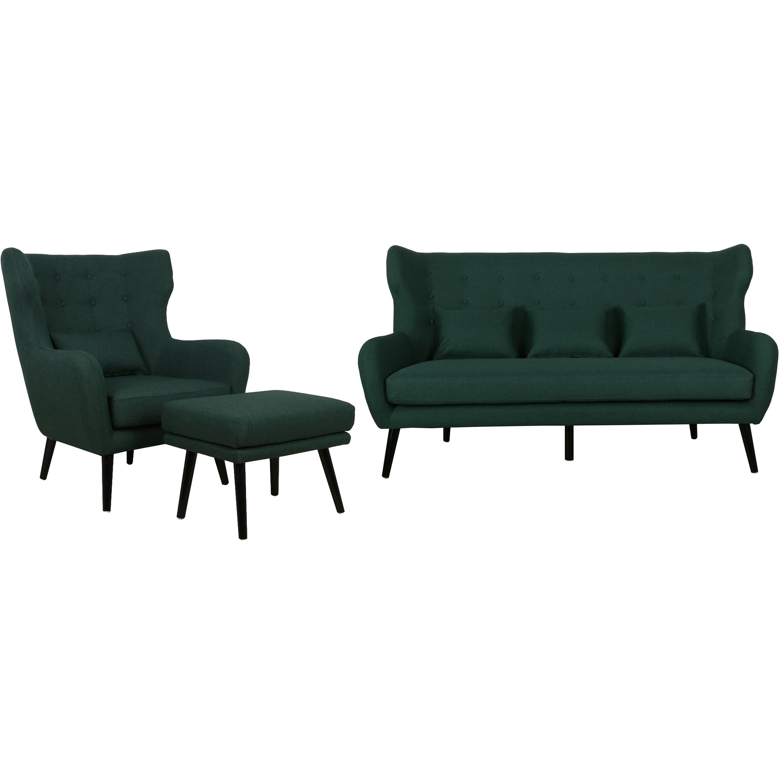 Nimara.dk Harry - Sofasæt med 3 personers sofa, lænestol og skammel i Mørkegrøn