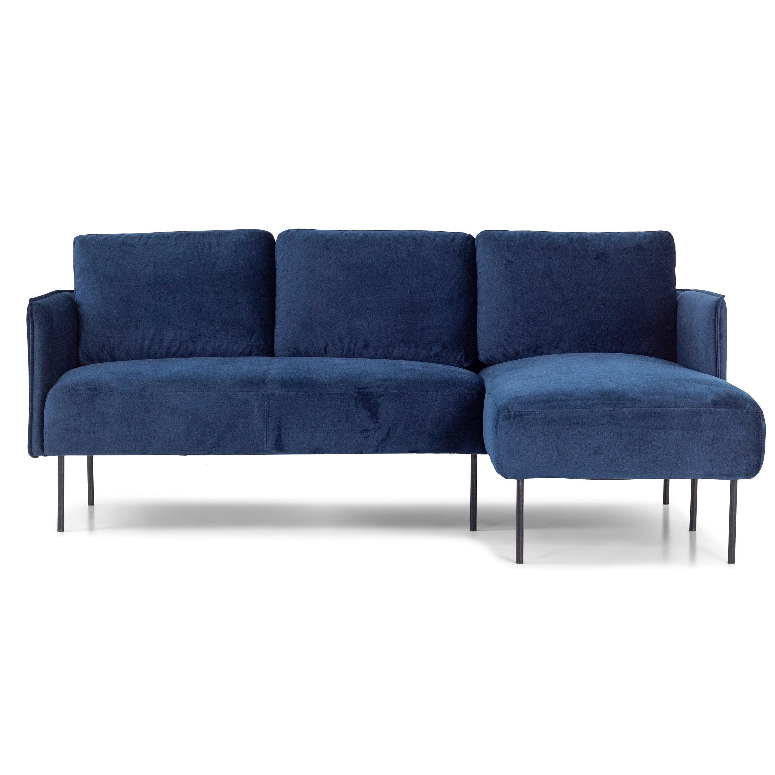 nimara.dk Nela - Højrevendt chaiselong sofa blå velour - 192 cm