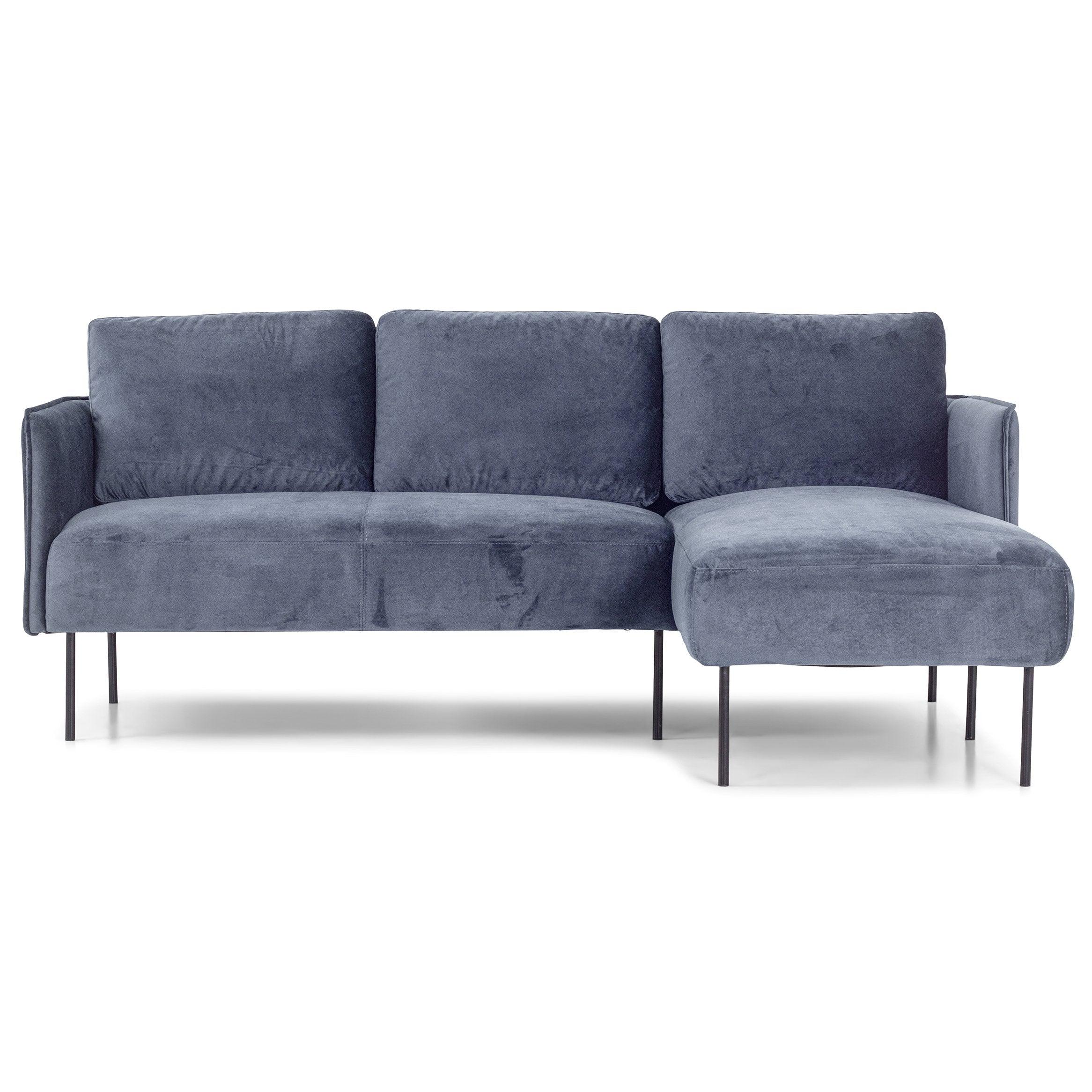 nimara.dk Nela - Højrevendt chaiselong sofa grå velour - 192 cm