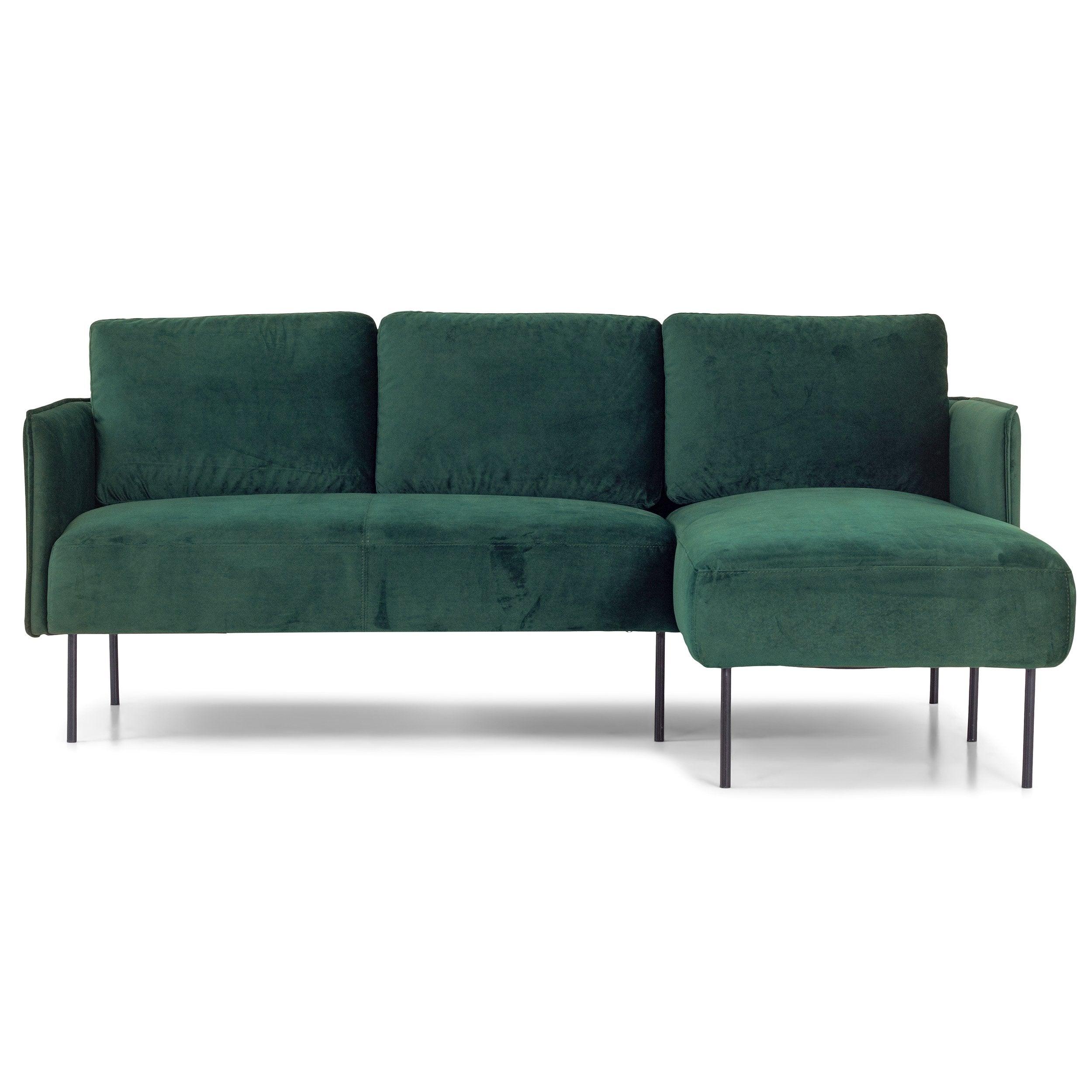 nimara.dk Nela - Højrevendt chaiselong sofa mørkegrøn velour - 192 cm