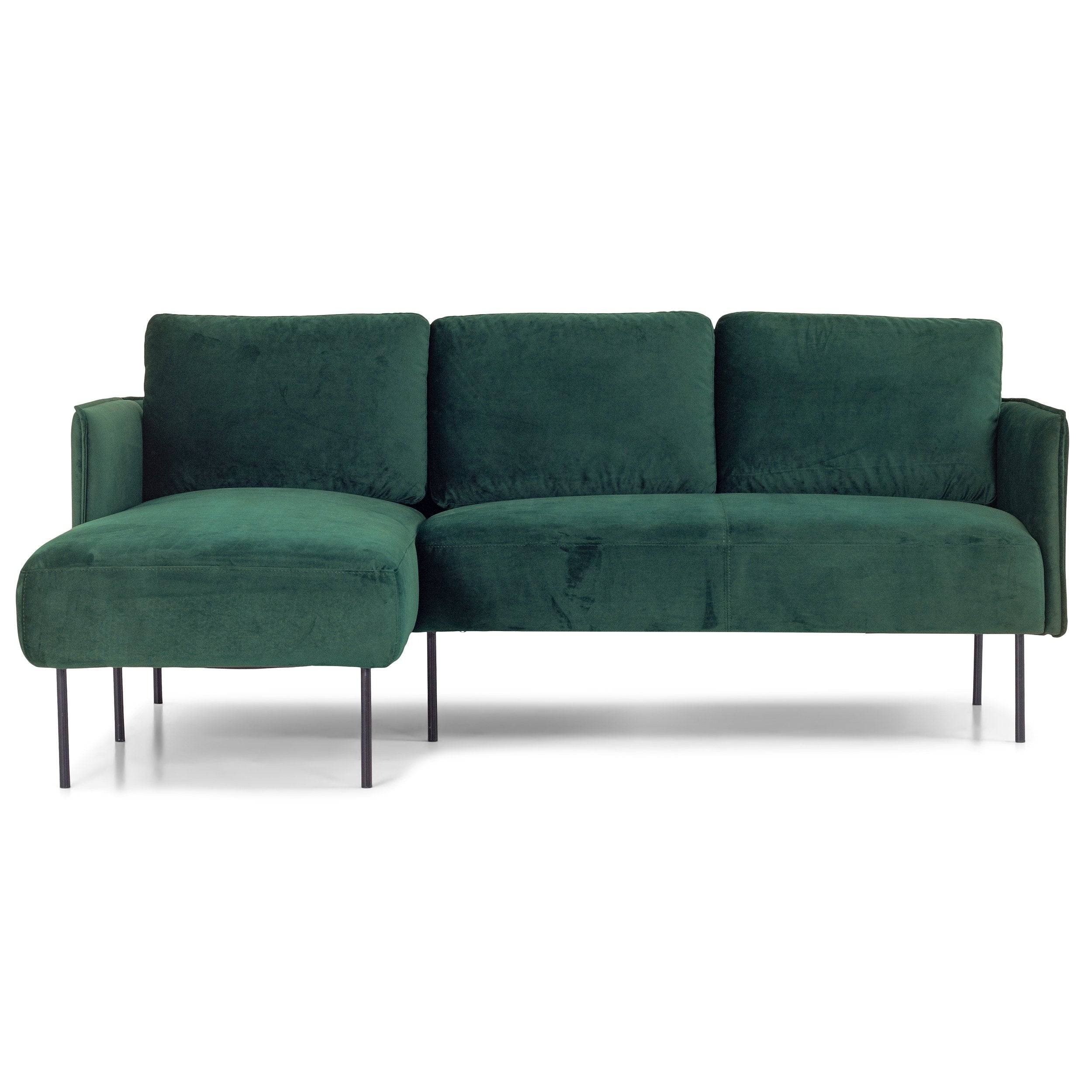 nimara.dk Nela - Venstrevendt chaiselong sofa mørkegrøn velour - 192 cm