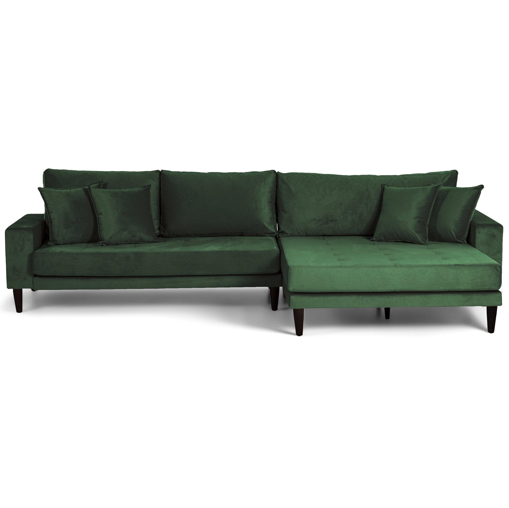 Nimara.dk Asta - Højrevendt chaiselong sofa grøn velour - 290 cm