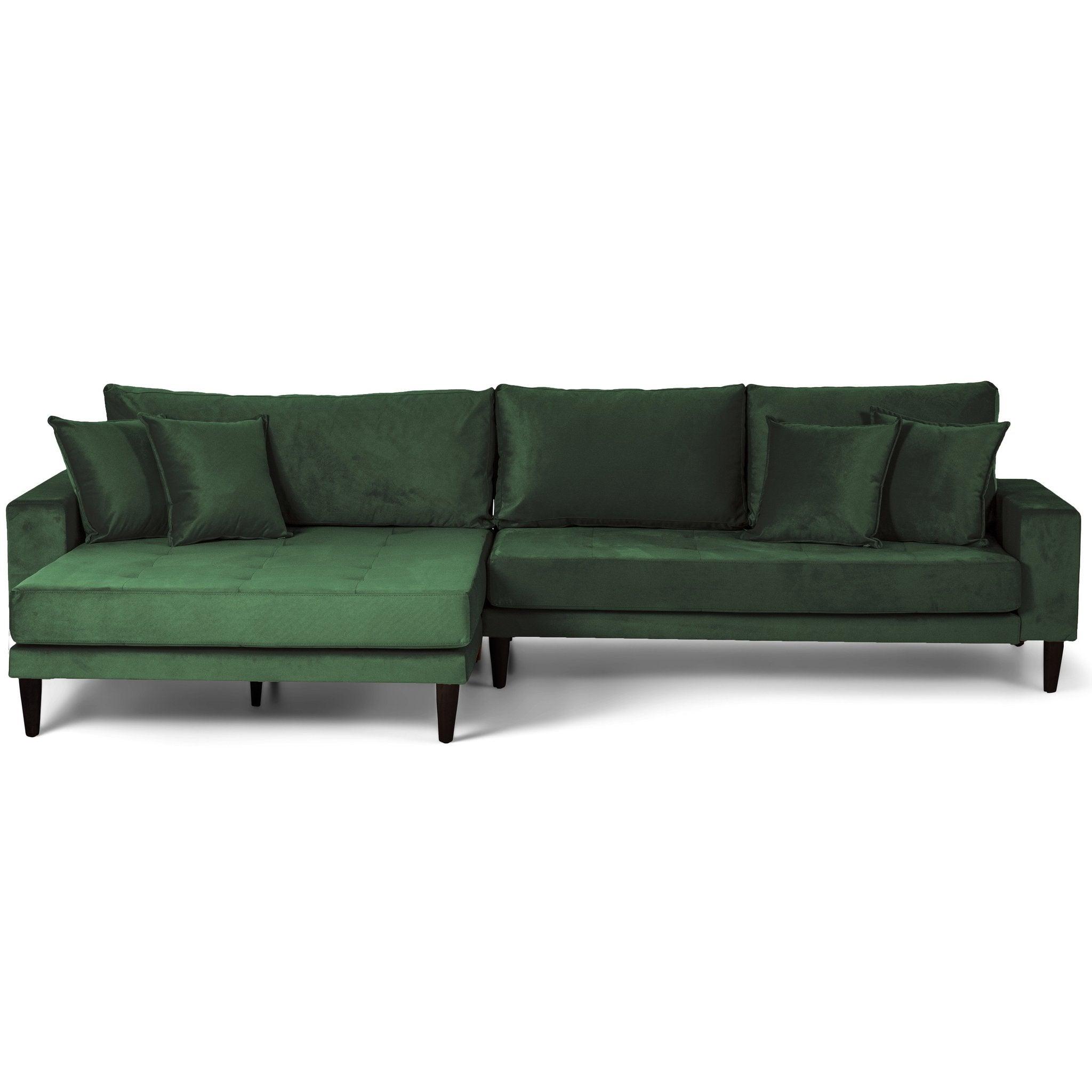 Nimara.dk Asta - Venstrevendt chaiselong sofa grøn velour - 290 cm