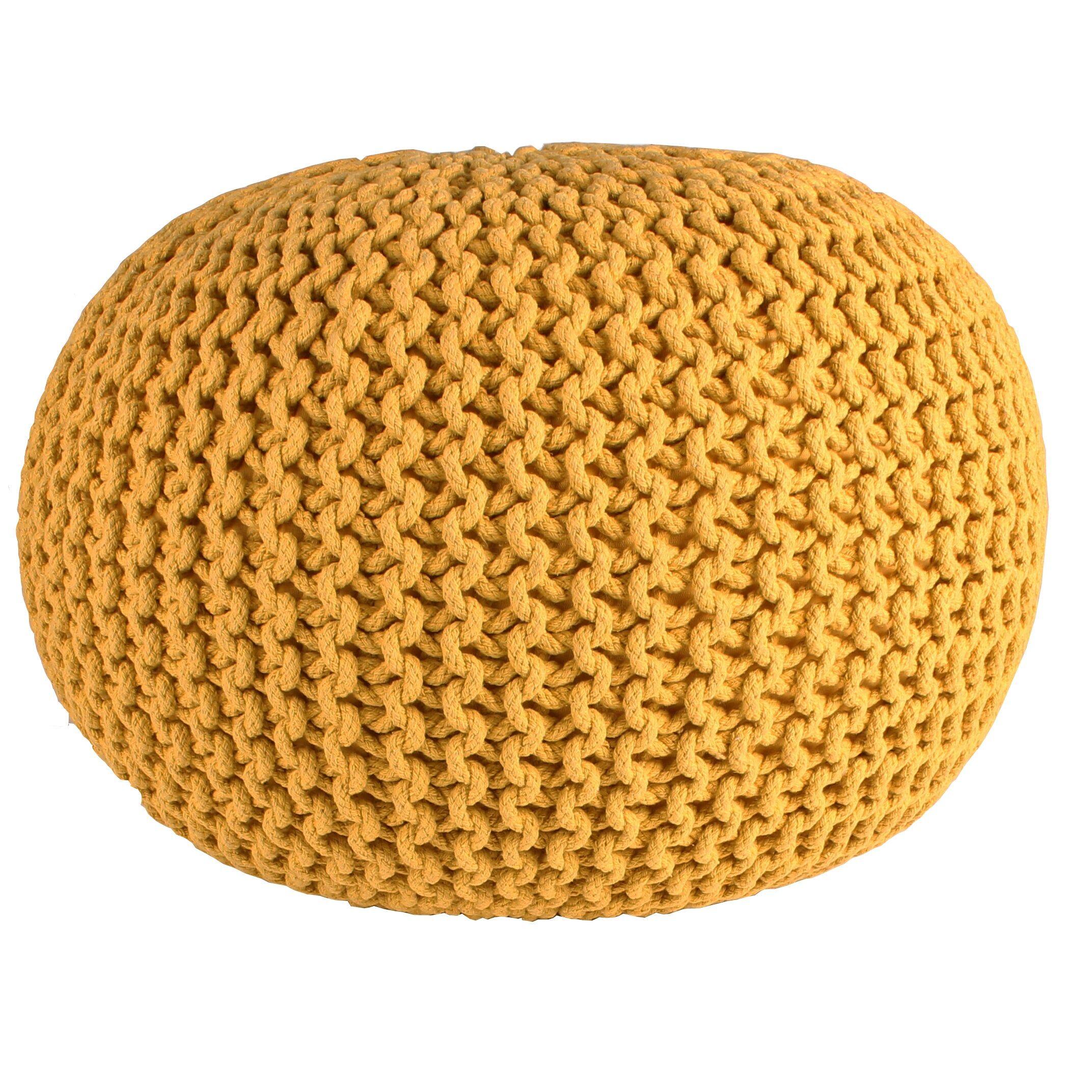 Nimara.dk Cotton strikket puf - Karry Ø55 cm
