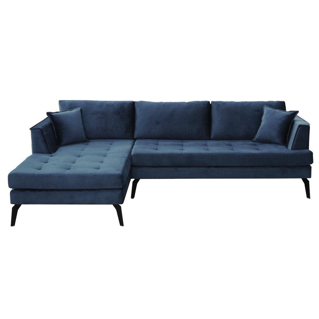 Nimara.dk Cali - Venstrevendt chaiselong sofa blå velour - 258 cm