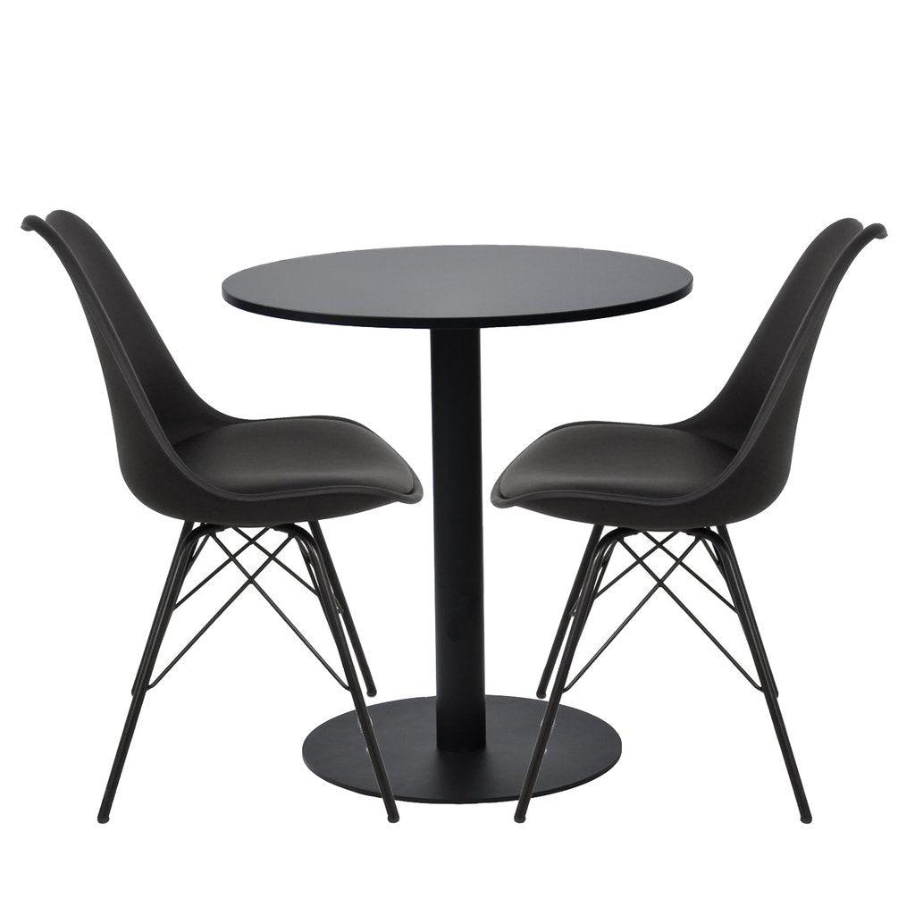 Nimara.dk Spisebordssæt - Troy rundt cafebord + 2 comfort stole