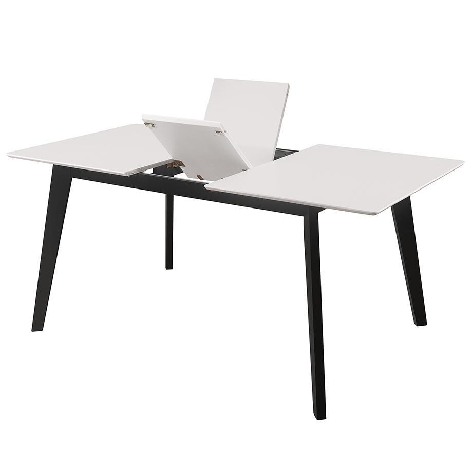 Nimara.dk Bjørk - Spisebord Med Butterfly Udtræk 140/180 Cm - Hvid/sort