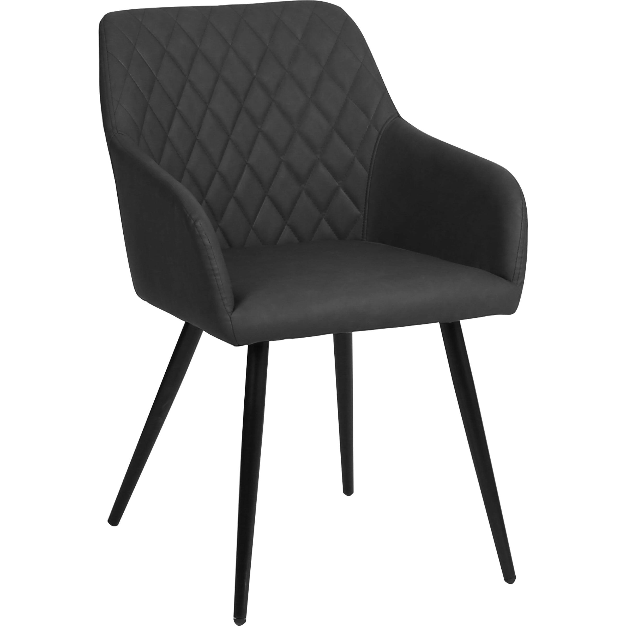 Nimara.dk Thor - Mørkegrå kunstlæder stol med armlæn