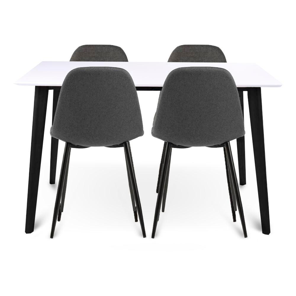 Nimara.dk Spisebordssæt - 120 cm hvid/sort + 4 x Signe grå spisebordsstole