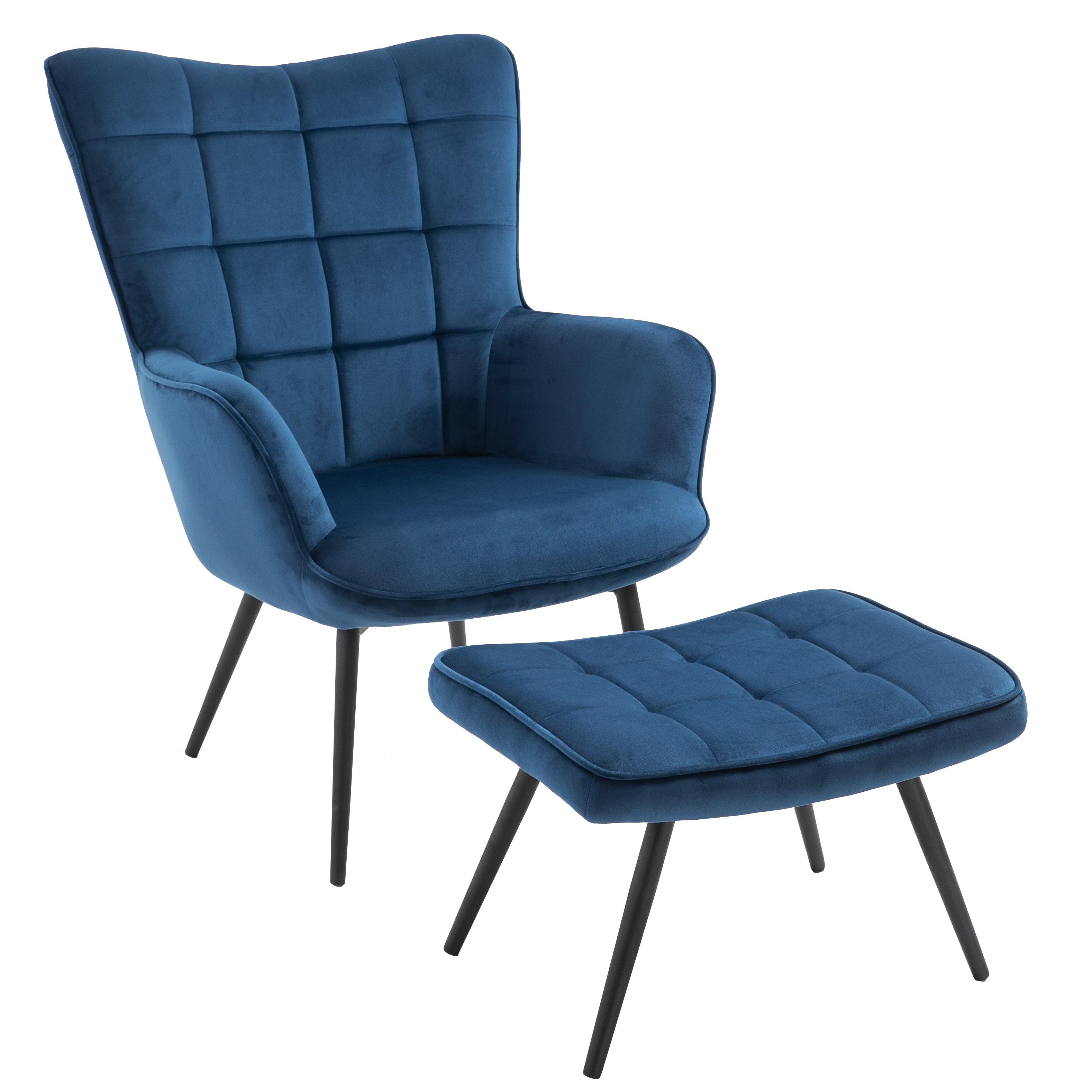 Nimara.dk Jackson Lænestol med Skammel - Blå Velour