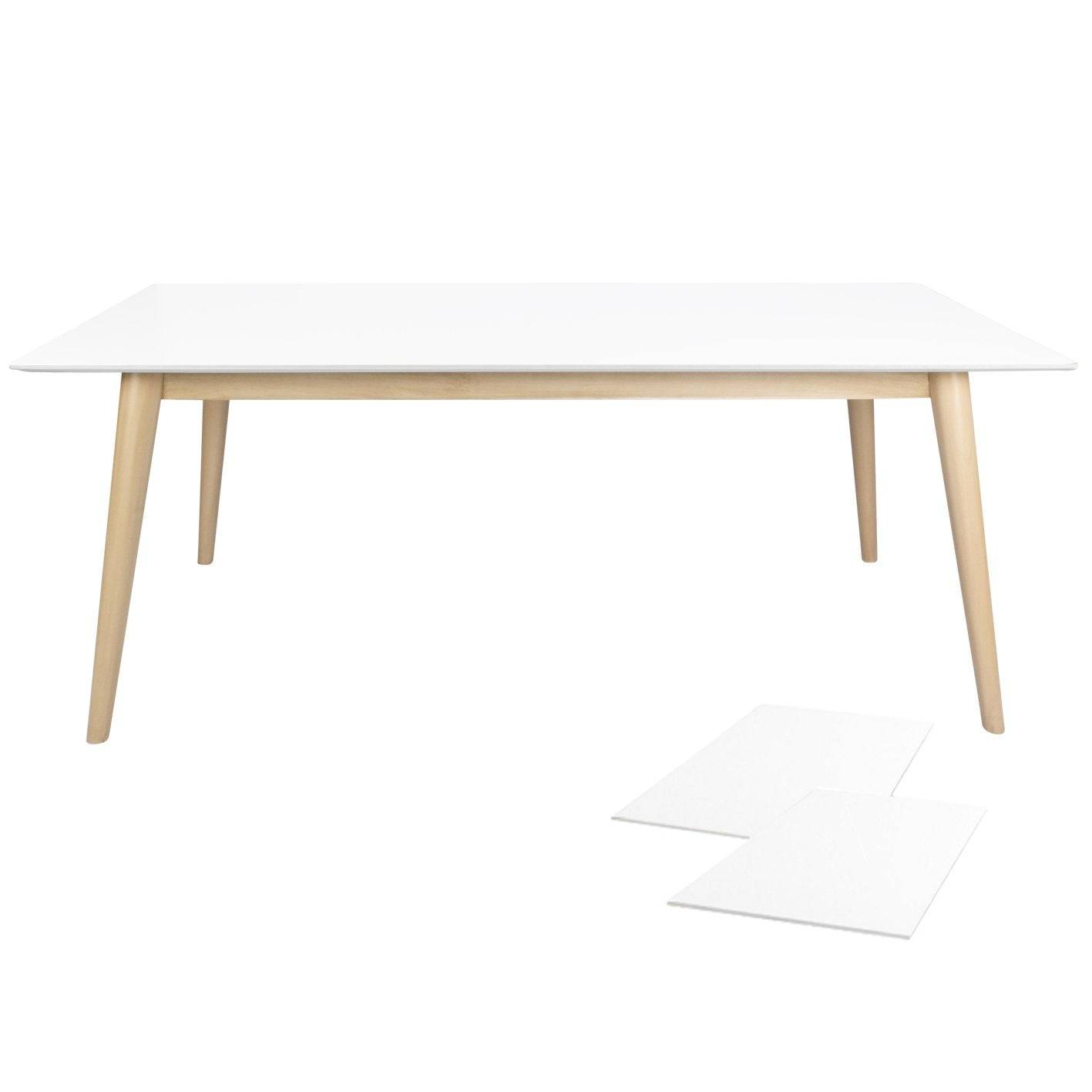 Nimara.dk Paula - Hvid/træ spisebord 150/190/230 cm med 2 stk tillægsplader (Ekstra