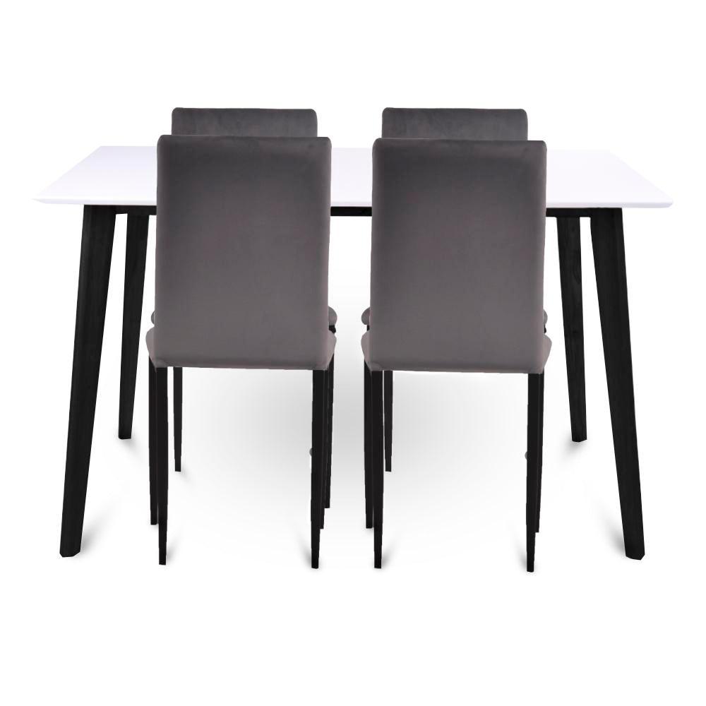 Nimara.dk Spisebordssæt - Bjørk spisebord 120 cm + 4 grå Elna velour stole