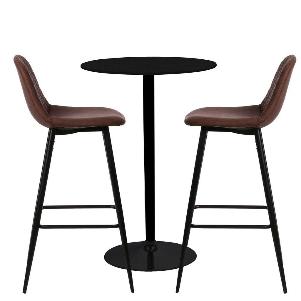 Nimara.dk Stella barbord sæt - Stella barbord + 2 x Brune Elba barstole