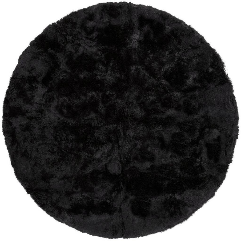 Nimara.dk Rundt lammeskindstæppe i sort Ø140 cm - New Zealand