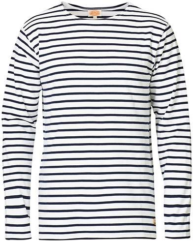 Armor-lux Houat Héritage Stripe Longsleeve T-shirt White/Navy men L Hvid