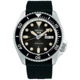 Seiko 5 Sports Mens 43mm 100m Automatic Rubber/Black Dial men One size Sort