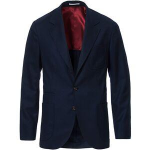 Brunello Cucinelli Super 120s Flannel Patch Pocket Blazer Navy men 48 Blå
