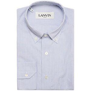 Lanvin Button Down Fitted Check Shirt Blue men 40 - M Blå