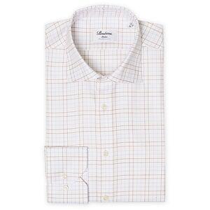 Stenströms Slimline Twofold Stretch Checked Shirt White men 40 - M Hvid