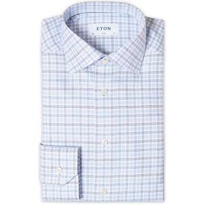 Eton Slim Fit Checked Three Fold Twill Shirt Blue men 40 - M Blå