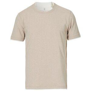 Brunello Cucinelli Contrast Collar Short Sleeve T-Shirt Beige men L Beige