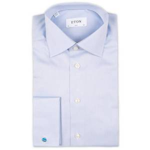 Eton Slim Fit Shirt Double Cuff Blue men 38 - S Blå