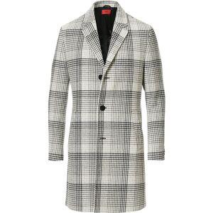 HUGO Malte Checked Coat Natural men 46 Grå
