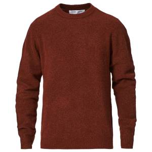 Samsøe & Samsøe Butler Wool/Yak Crew Neck Brandy Brown Mel men M Rød