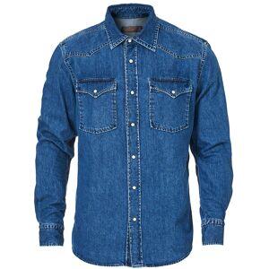 Morris Walton Denim Western Shirt Blue men S Blå