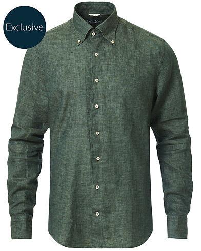 Stenströms Slimline Button Down Linen Shirt Green men S Grøn