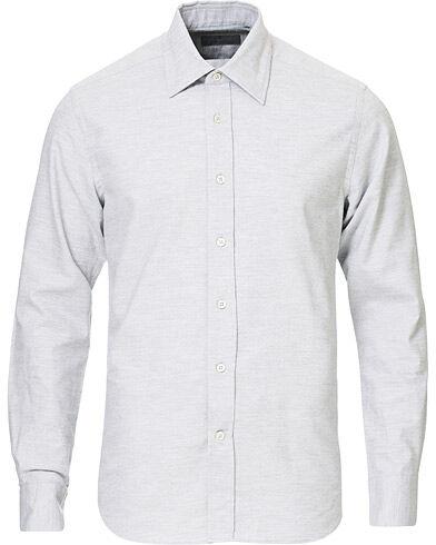 Canali Slim Fit Flannel Shirt Light Grey men XL Grå