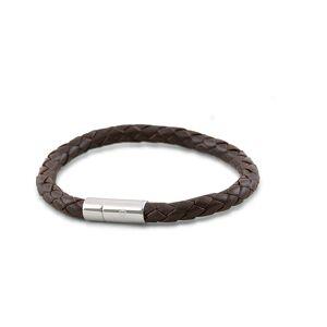 Skultuna One Row Leather Bracelet Dark Brown Steel men M - 20,5cm Brun