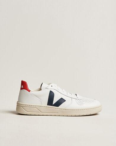 Veja V-10 Leather Sneaker Extra White/Nautico Pekin men 45 Hvid