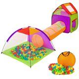 tectake Børnetelt med tunnel, 200 bolde og taske - flere farver