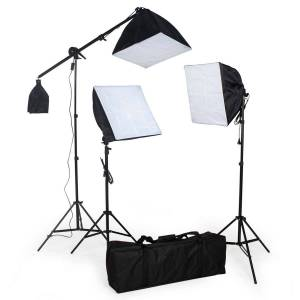 tectake 3 Studielamper inklusiv pærer + softbox - sort